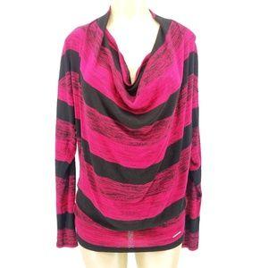 Michael Kors Pink Black Striped Cowl Neck Sweater